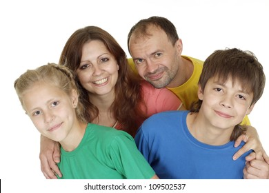 Superb family of four in bright T-shirt on a white background