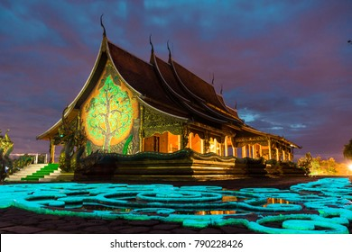 Superb glowing graphic after sunset at Wat Sirindhorn Wararam (Wat Phu Prao -Buddhist temple), ubon ratchathani - Thailand