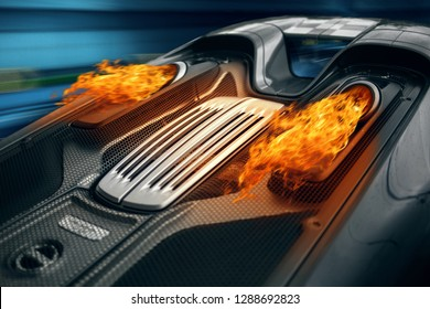 Supercar engine exhaust after burn with a fire flame. Car ride fast at the tunnel and deploying fire