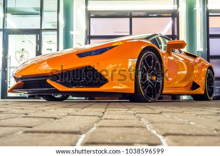 Supercar Lamborghini Huracan Orange Color Parked Stock Photo Edit