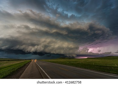 Supercell storm in South Dakota, US