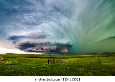 Supercell thunderstorm with dramatic clouds
