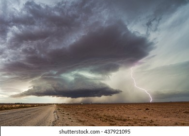 Supercell thunderstorm with lightning