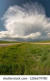 Supercell thunderstorm over the plains of South Dakota