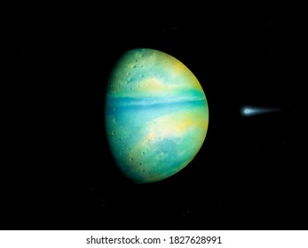 super-earth planet, realistic exoplanet, earth-like planet in far space, planets background 3d render