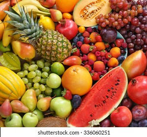 Superfood background. Only Fruit / food photography of ripe fruits at the market. Copy spacy for your text. High resolution product