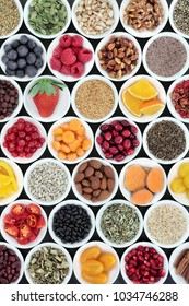 Superfood for a healthy heart including fruit, vegetables, grain, omega 3, nuts, seeds and herbal medicine. High in antioxidants, anthocyanins, vitamins, and minerals.