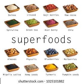 Superfoods collection isolated on white background