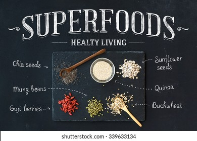 Superfoods on black chalkboard background: goji berries, chia, mung beans, buckwheat, quinoa, sunflower seeds. Top view, white lettering