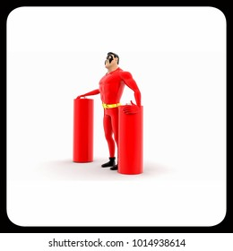 superhero with battery cells concept on white background - 3d rendering, side angle view