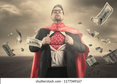 Superhero businessman concept