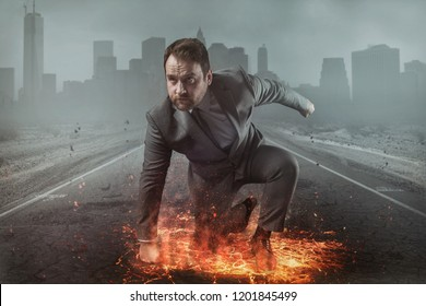 Superhero businessman concept with fire and city background