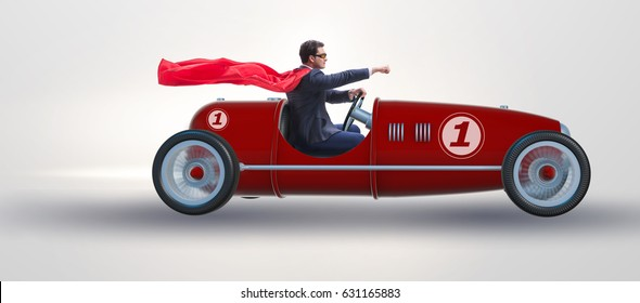 Superhero businessman driving vintage roadster