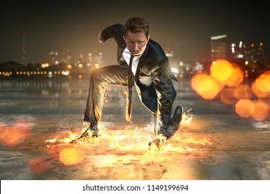 Superhéroe Empresario con efectos de incendio