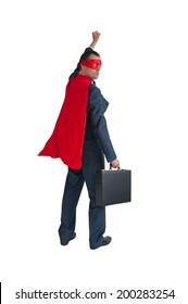 superhero businessman fist pumping isolated on white
