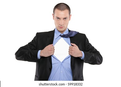 Superhero businessman opening blue shirt Blank white t-shirt underneath provides excellent copy space for your image, text or logo