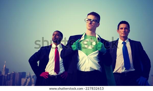 Superhero Businessmen Environment New York Concept