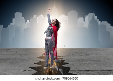 Superhero businesswoman escaping from difficult situation