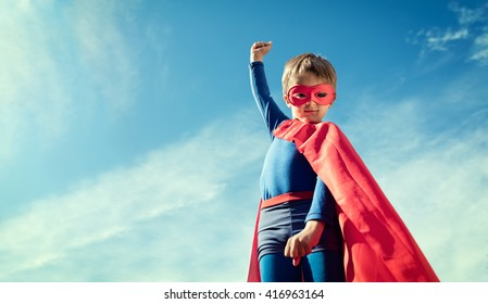 Superhero child concept for childhood, imagination and aspirations