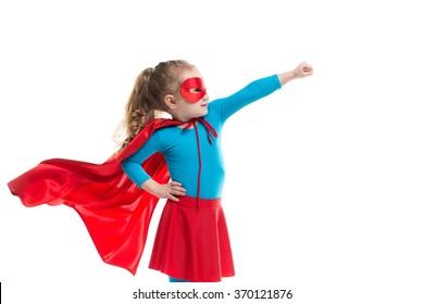 Superhero child (girl), isolated on white background.