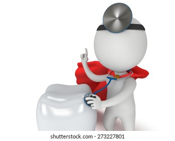 Superhero Doctor with a stethoscope and mirror on his head checkup healthy tooth. 3d render man isolated on white. Medicine and healthcare dental concept.