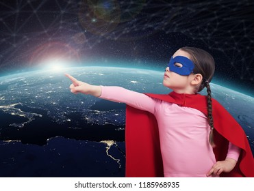 Superhero kid against the Earth. 3D rendering elements of this image furnished by NASA