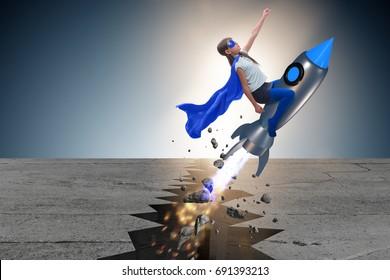 Superhero kid flying on rocket