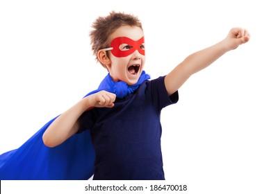 Superhero kid over white