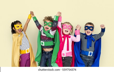 Superhero Kids Friendship Smiling Happiness Playful Togetherness