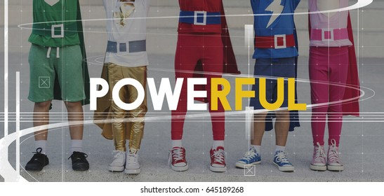 Superhero Kids Powerful Strength Word Graphic