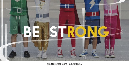Superhero Kids Strong Strength Powerful Word Graphic