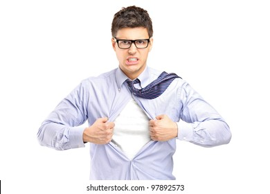Superhero opening blue shirt, blank white t-shirt underneath provides excellent copy space for your image, text or logo