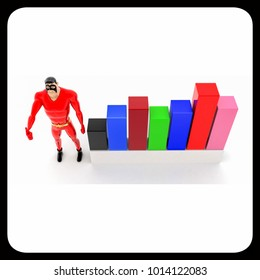 superhero with progress charts concept on white background- 3d rendering , top angle view