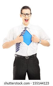 Superhero screaming and opening shirt, blank blue t-shirt underneath provides excellent copy space for your image, text or logo, isolated on white background