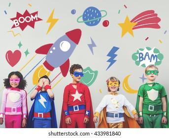 Superhero Super kid Children Hero Playful Concept