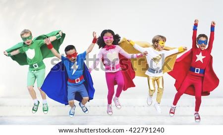 Superheroes Kids Friends Playing