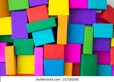 Superimposed of colourful boxes. wall stack of square multicolor box.