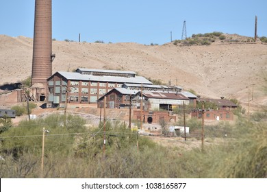 Superior, AZ. U.S.A. February 24, 2018.  Arizona copper mining town. Superior, AZ., abandoned copper smelter. From boom 1880s to bust in the early 1980s.