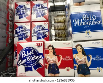 Superior, Wisconsin/USA. November 18th, 2018.  Cases of Pabst Blue Ribbon and Old Milwaukee beer on display. PBR is trending in the news lately since it may not be produced anymore.