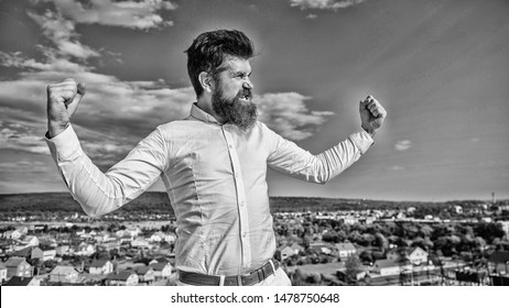 Superiority and power. Hipster bearded looks attractive. Man bearded feels proud himself sky background. Self proud and narcissistic. Way to understand narcissistic male. Guy enjoy top achievement.