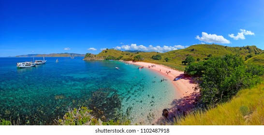 Superlarge panorama of Pink Beach, Flores Island