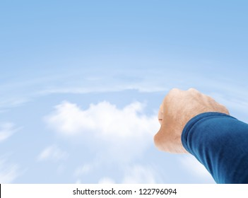 Flying superman stock photos images photography shutterstock superman hand flying in cloudy sky with copy space publicscrutiny Gallery