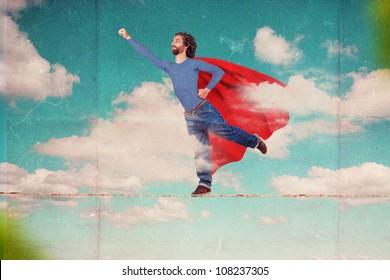 superman on sky, art collage