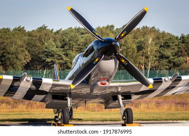 Supermarine Spitfire with D-Day invasion stripes on Kleine-Brogel Airbase. Belgium - September 14, 2019.