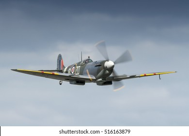 Supermarine Spitfire IX registration MH434 flying on May 18th 2008 at Duxford, Cambridgeshire, UK