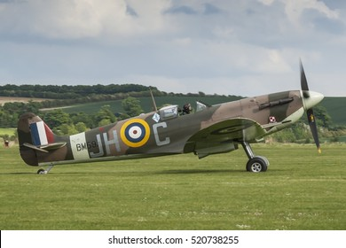 Supermarine Spitfire Vb registration BM597 about to take off on May 18th 2008 from the grass runway at Duxford, Cambridgeshire, UK