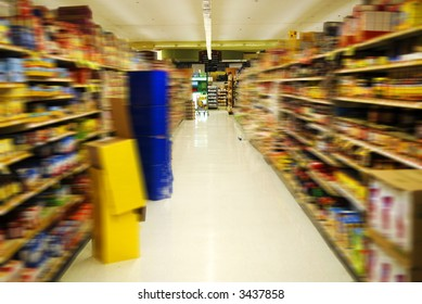 supermarket aisle with motion blur