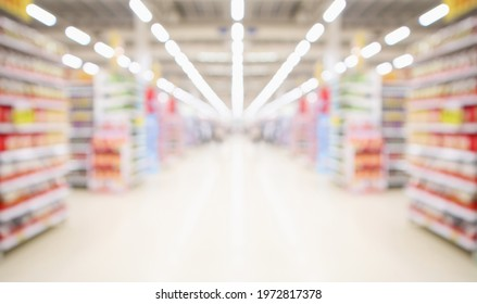 supermarket aisle and shelves blurred background
