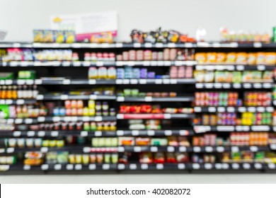 Supermarket blur background, Product display, template, business concept