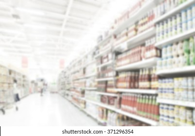 Supermarket blur background ,Product shelf sauce